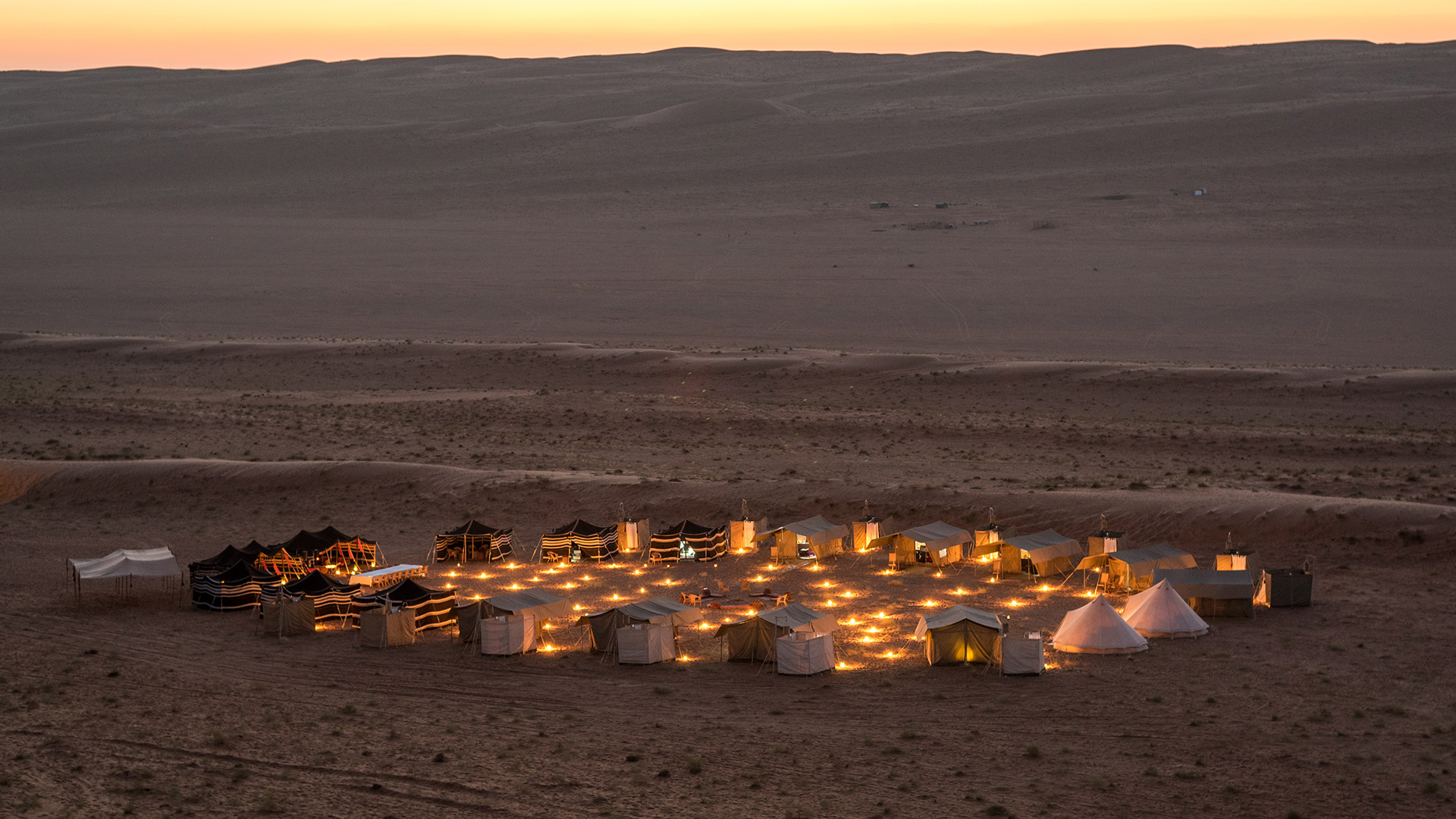A large private camp in the Wahiba Sands