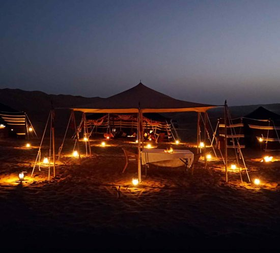 The author spent a night at the sumptuous Hud Hud camp in Wahiba Sands | Image: Pelorus